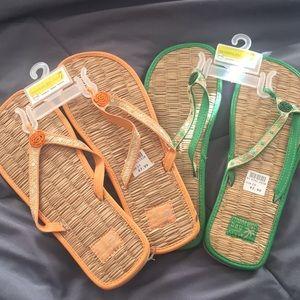 2 pair embellished flip flops